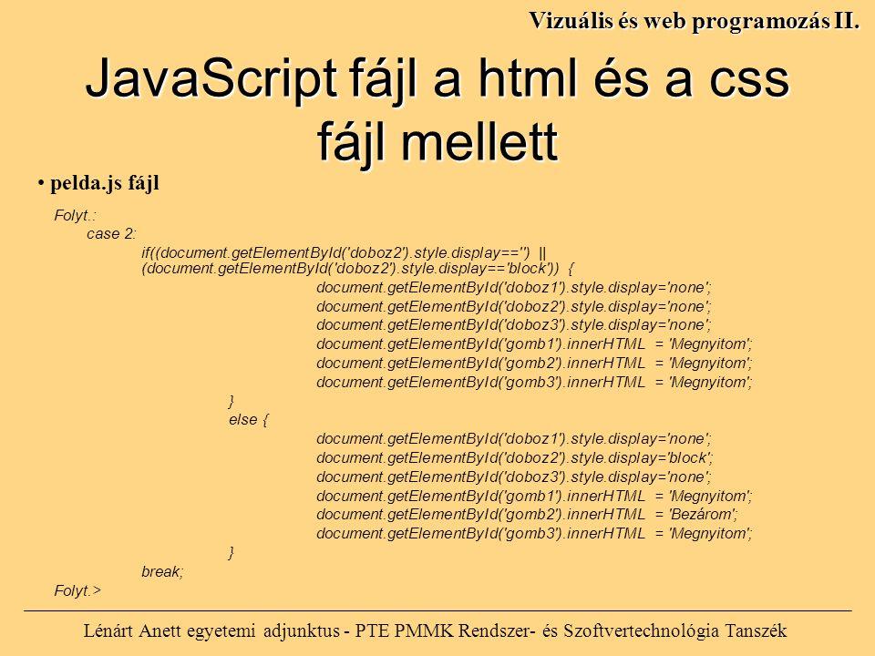 Lénárt Anett egyetemi adjunktus - PTE PMMK Rendszer- és Szoftvertechnológia Tanszék Vizuális és web programozás II. Folyt.: case 2: if((document.getEl
