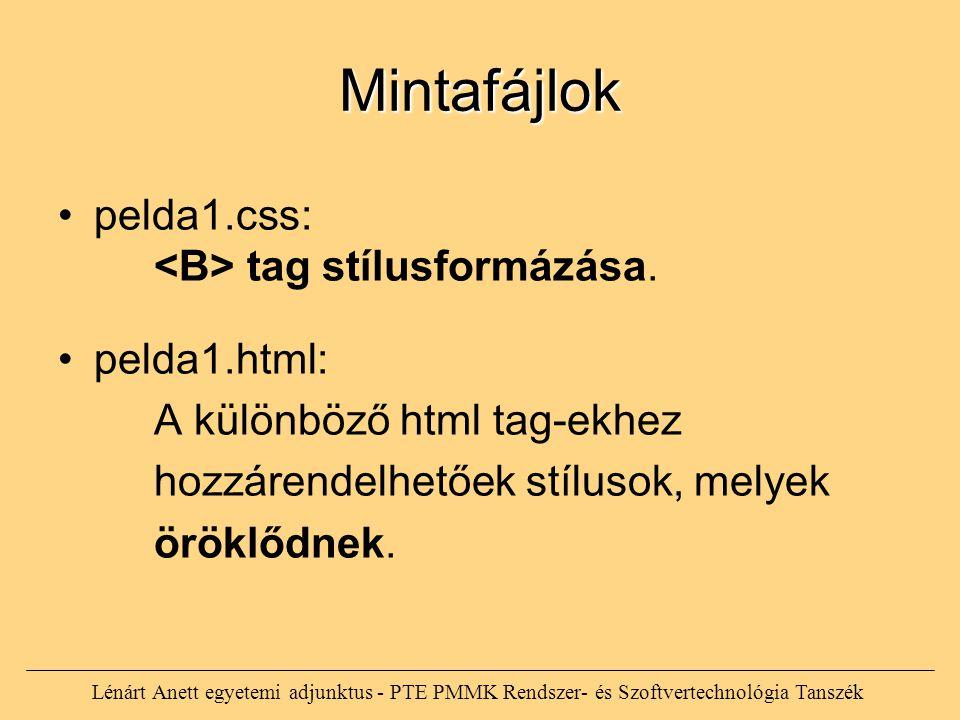 Lénárt Anett egyetemi adjunktus - PTE PMMK Rendszer- és Szoftvertechnológia Tanszék Mintafájlok pelda1.css: tag stílusformázása. pelda1.html: A különb