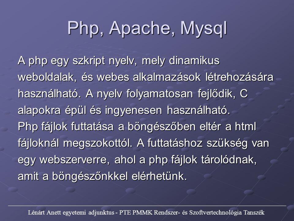 Php, Apache, Mysql Az Apache egy jól bevált webszerver, és ez is ingyenesen használható.
