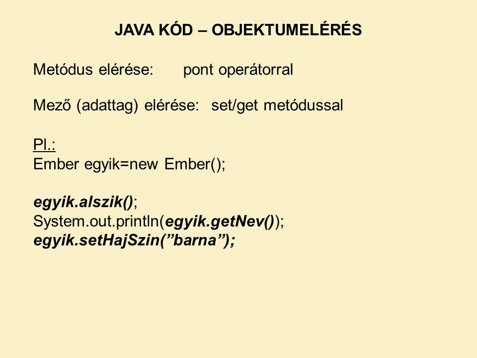 Metódus elérése: Mező (adattag) elérése: pont operátorral set/get metódussal Pl.: Ember egyik=new Ember(); egyik.alszik(); System.out.println(egyik.getNev()); egyik.setHajSzin( barna ); JAVA KÓD – OBJEKTUMELÉRÉS