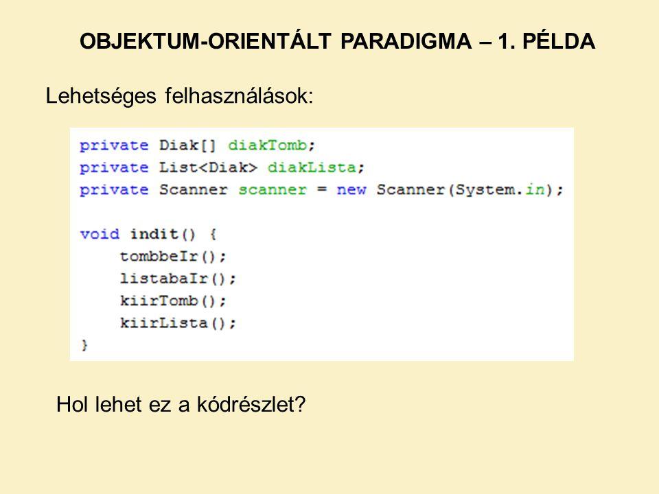 Lehetséges felhasználások: OBJEKTUM-ORIENTÁLT PARADIGMA – 1. PÉLDA Hol lehet ez a kódrészlet?