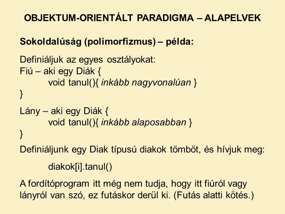 Sokoldalúság (polimorfizmus) – példa: Definiáljuk az egyes osztályokat: Fiú – aki egy Diák { void tanul(){ inkább nagyvonalúan } } Lány – aki egy Diák