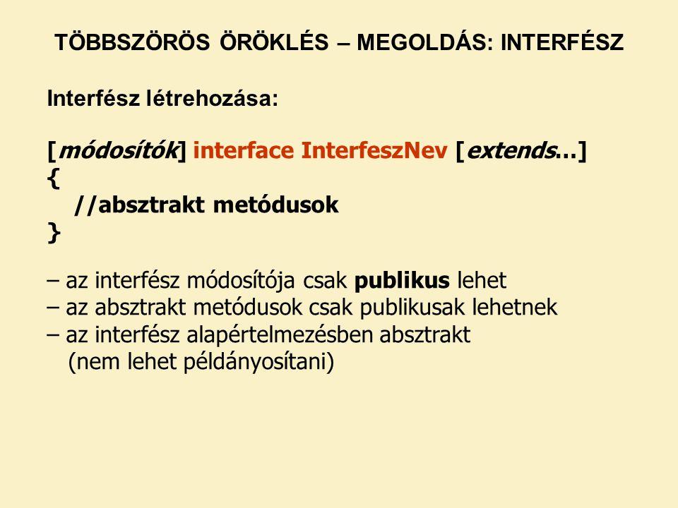 [módosítók] interface InterfeszNev [extends…] { //absztrakt metódusok } – az interfész módosítója csak publikus lehet – az absztrakt metódusok csak publikusak lehetnek – az interfész alapértelmezésben absztrakt (nem lehet példányosítani) TÖBBSZÖRÖS ÖRÖKLÉS – MEGOLDÁS: INTERFÉSZ Interfész létrehozása: