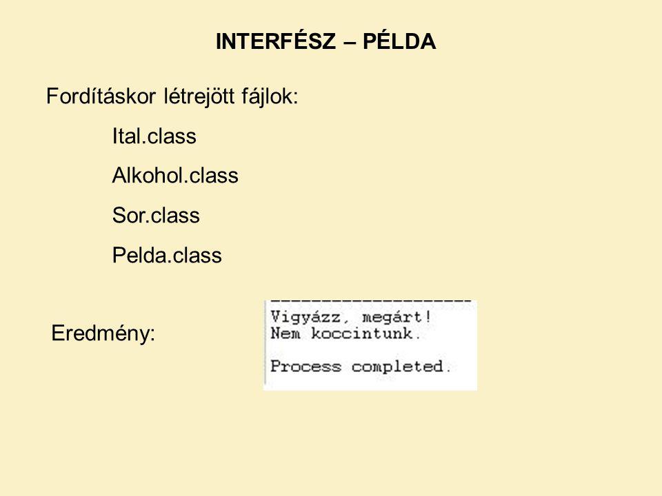 INTERFÉSZ – PÉLDA Fordításkor létrejött fájlok: Ital.class Alkohol.class Sor.class Pelda.class Eredmény: