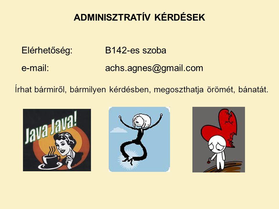 ADMINISZTRATÍV KÉRDÉSEK Elérhetőség:B142-es szoba e-mail: achs.agnes@gmail.com Írhat bármiről, bármilyen kérdésben, megoszthatja örömét, bánatát.