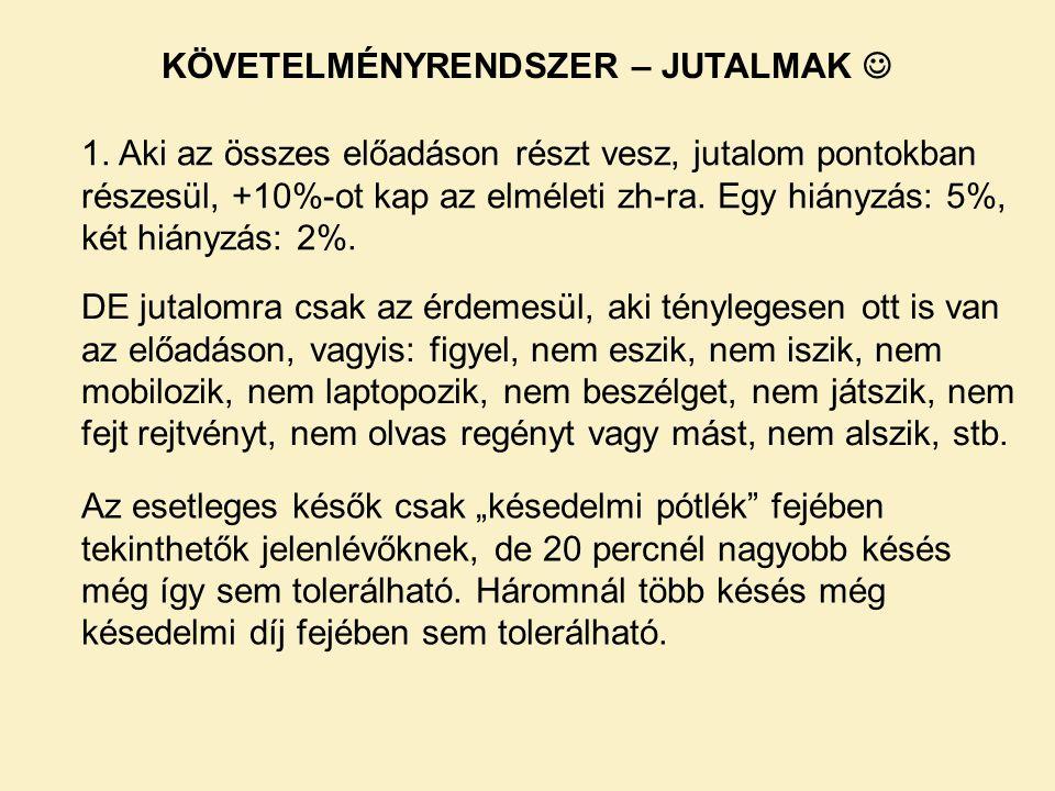 KÖVETELMÉNYRENDSZER – JUTALMAK 1.