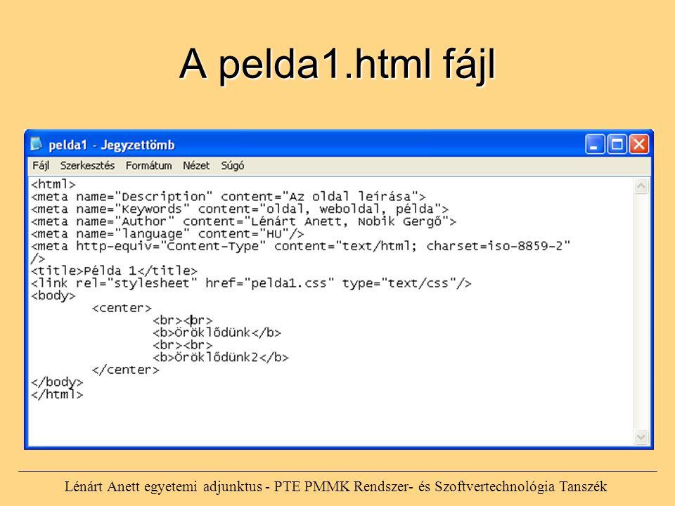 A pelda1.html fájl Lénárt Anett egyetemi adjunktus - PTE PMMK Rendszer- és Szoftvertechnológia Tanszék
