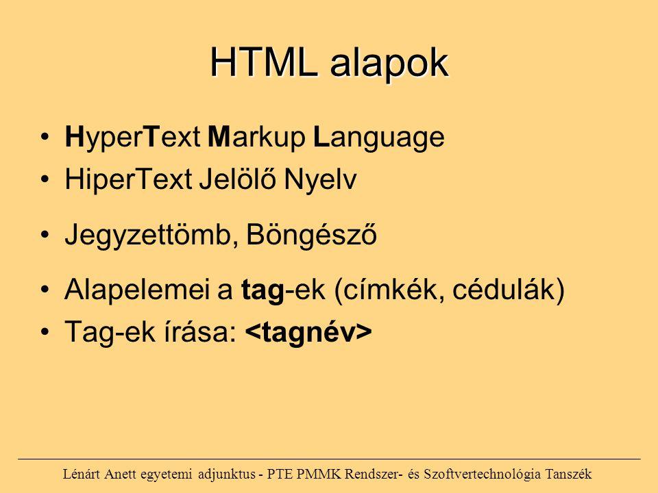 HTML alapok HyperText Markup Language HiperText Jelölő Nyelv Jegyzettömb, Böngésző Alapelemei a tag-ek (címkék, cédulák) Tag-ek írása: Lénárt Anett eg