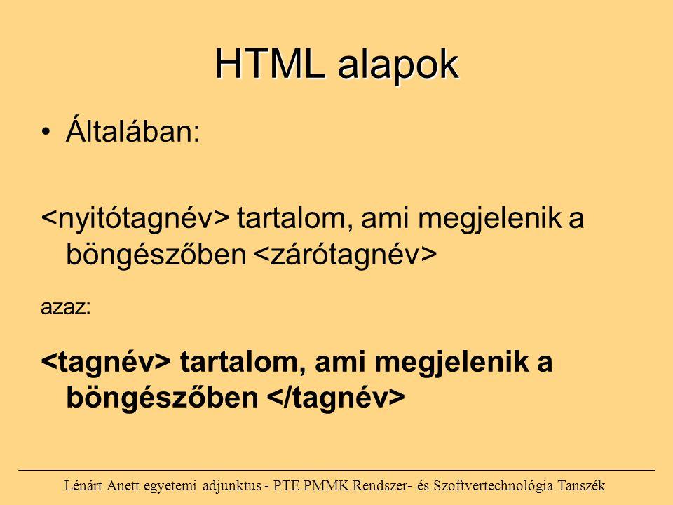 HTML alapok Általában: tartalom, ami megjelenik a böngészőben azaz: tartalom, ami megjelenik a böngészőben Lénárt Anett egyetemi adjunktus - PTE PMMK