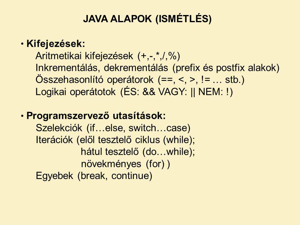 Kifejezések: Aritmetikai kifejezések (+,-,*,/,%) Inkrementálás, dekrementálás (prefix és postfix alakok) Összehasonlító operátorok (==,, != … stb.) Logikai operátotok (ÉS: && VAGY: || NEM: !) Programszervező utasítások: Szelekciók (if…else, switch…case) Iterációk (elől tesztelő ciklus (while); hátul tesztelő (do…while); növekményes (for) ) Egyebek (break, continue) JAVA ALAPOK (ISMÉTLÉS)