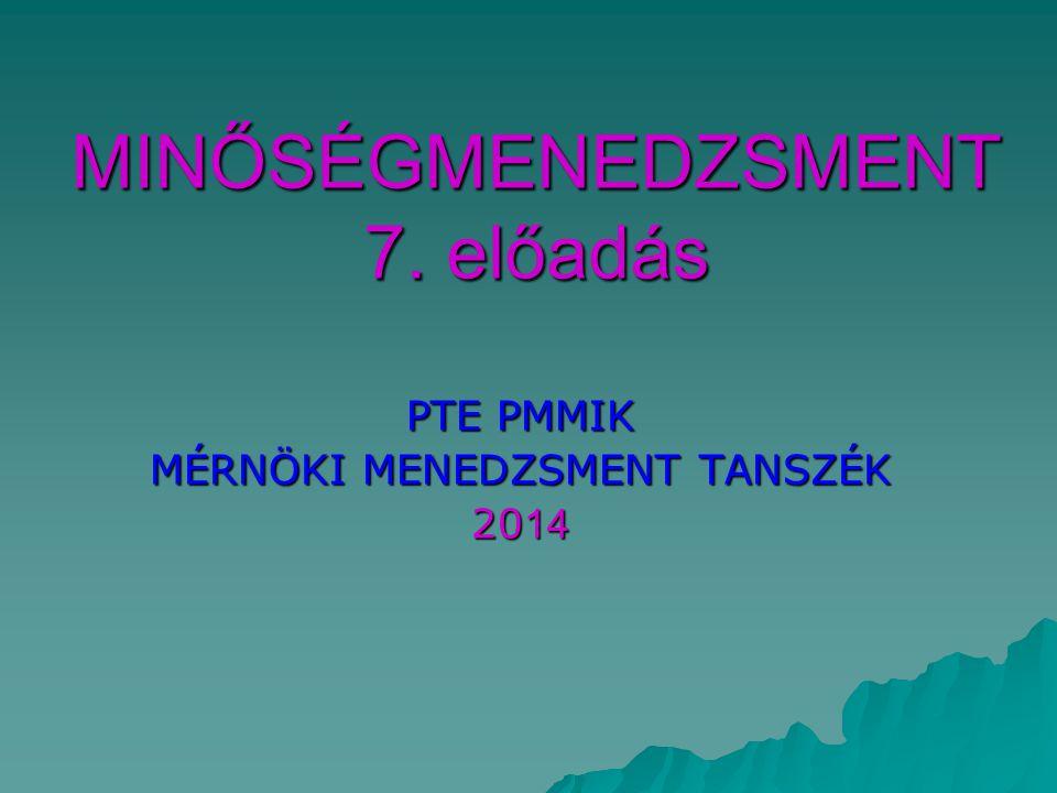 MINŐSÉGMENEDZSMENT 7. előadás PTE PMMIK MÉRNÖKI MENEDZSMENT TANSZÉK 20 14
