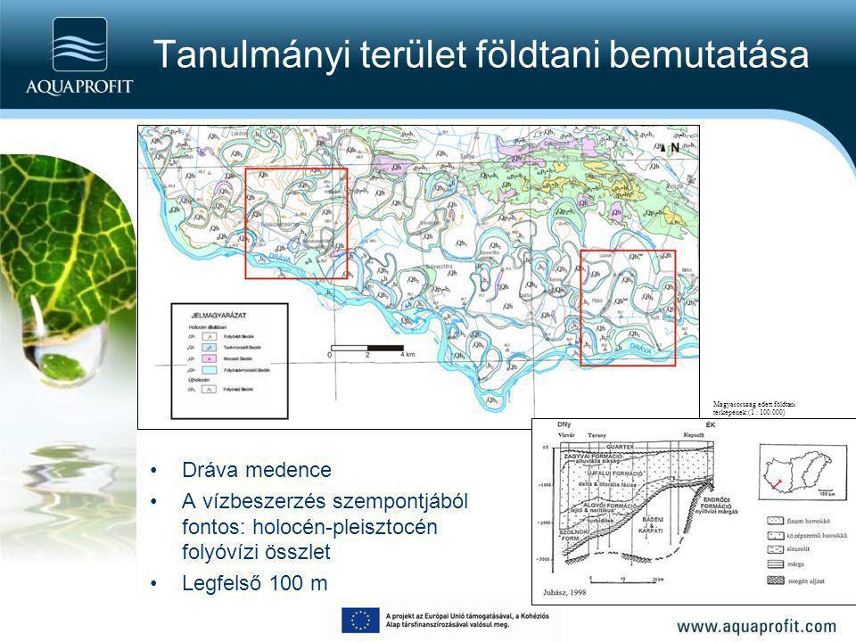 Tanulmányi terület földtani bemutatása Dráva medence A vízbeszerzés szempontjából fontos: holocén-pleisztocén folyóvízi összlet Legfelső 100 m Magyaro