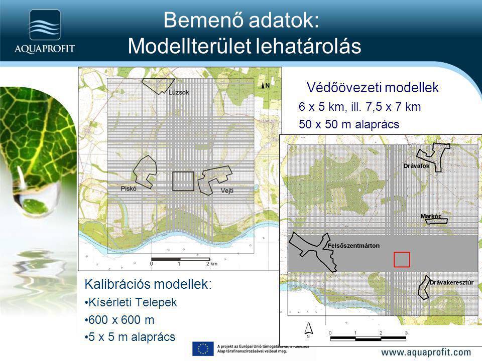 Bemenő adatok: Modellterület lehatárolás Kalibrációs modellek: Kísérleti Telepek 600 x 600 m 5 x 5 m alaprács Védőövezeti modellek 6 x 5 km, ill. 7,5