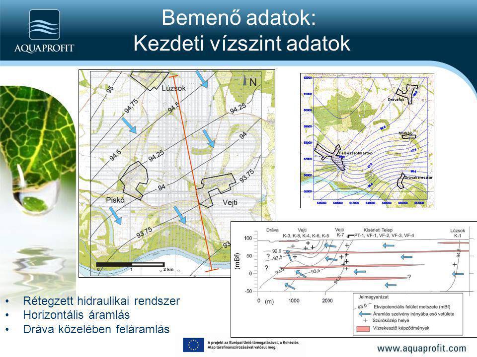 Bemenő adatok: Kezdeti vízszint adatok Rétegzett hidraulikai rendszer Horizontális áramlás Dráva közelében feláramlás