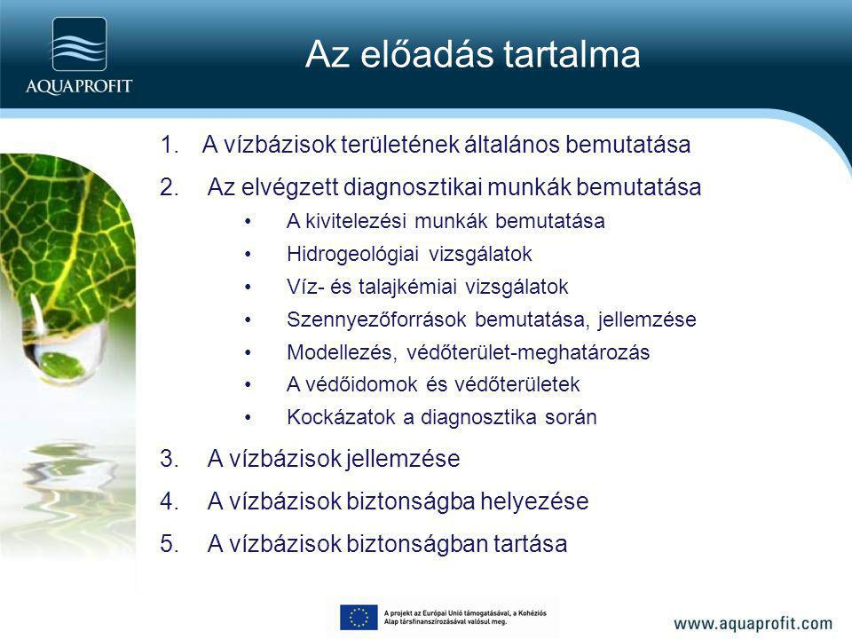 A vízbázisok biztonságban tartása Vízbázis biztonságban tartásához szükséges intézkedések: Állapotfelmérés (évente) Észlelőrendszer üzemeltetése (évente) Észlelőrendszer és védőterületek fenntartásához szükséges létesítmények fenntartása Kijelölt védőterületen bekövetkező haváriák lokalizálása, elhárítása Védőterületek rendszerének felülvizsgálata (5 évente)