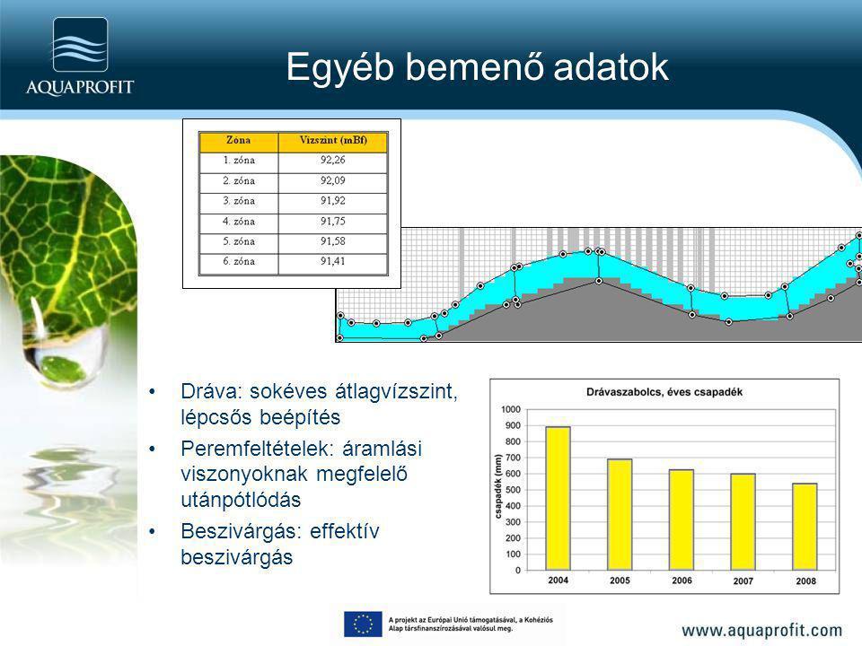 Egyéb bemenő adatok Dráva: sokéves átlagvízszint, lépcsős beépítés Peremfeltételek: áramlási viszonyoknak megfelelő utánpótlódás Beszivárgás: effektív