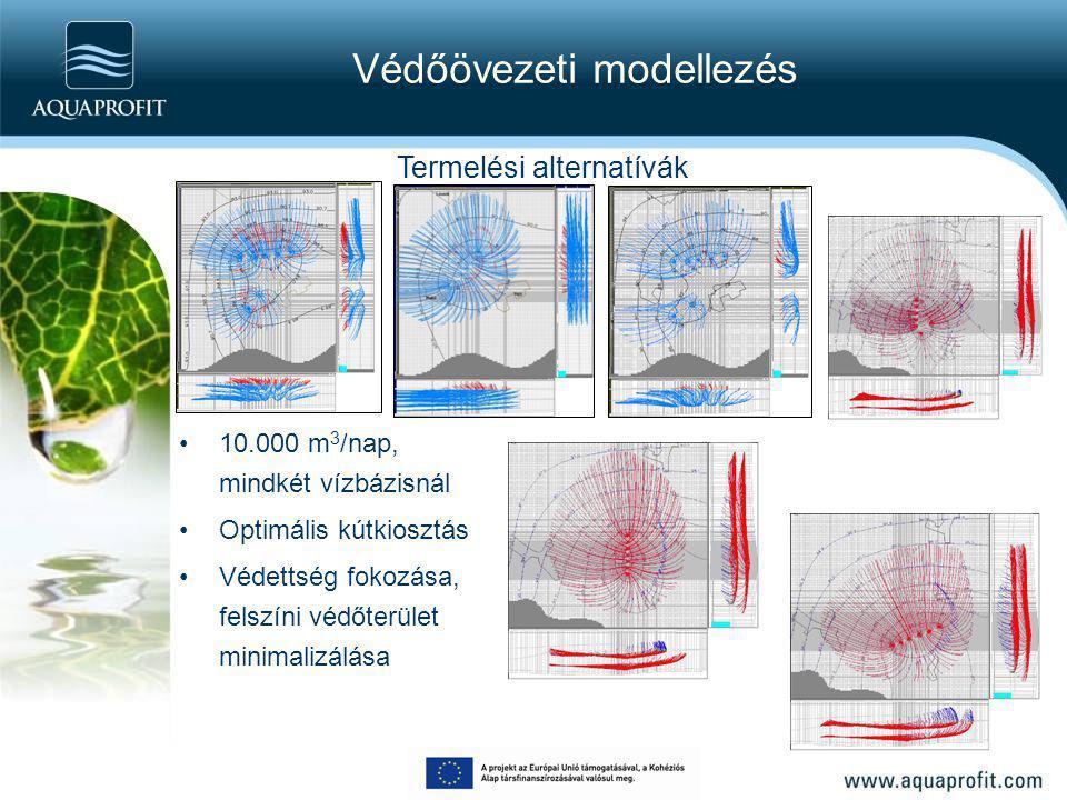 Védőövezeti modellezés 10.000 m 3 /nap, mindkét vízbázisnál Optimális kútkiosztás Védettség fokozása, felszíni védőterület minimalizálása Termelési al