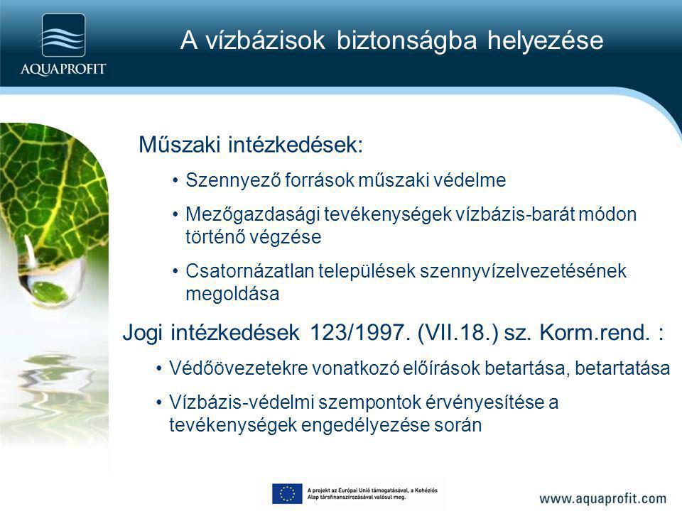A vízbázisok biztonságba helyezése Műszaki intézkedések: Szennyező források műszaki védelme Mezőgazdasági tevékenységek vízbázis-barát módon történő v