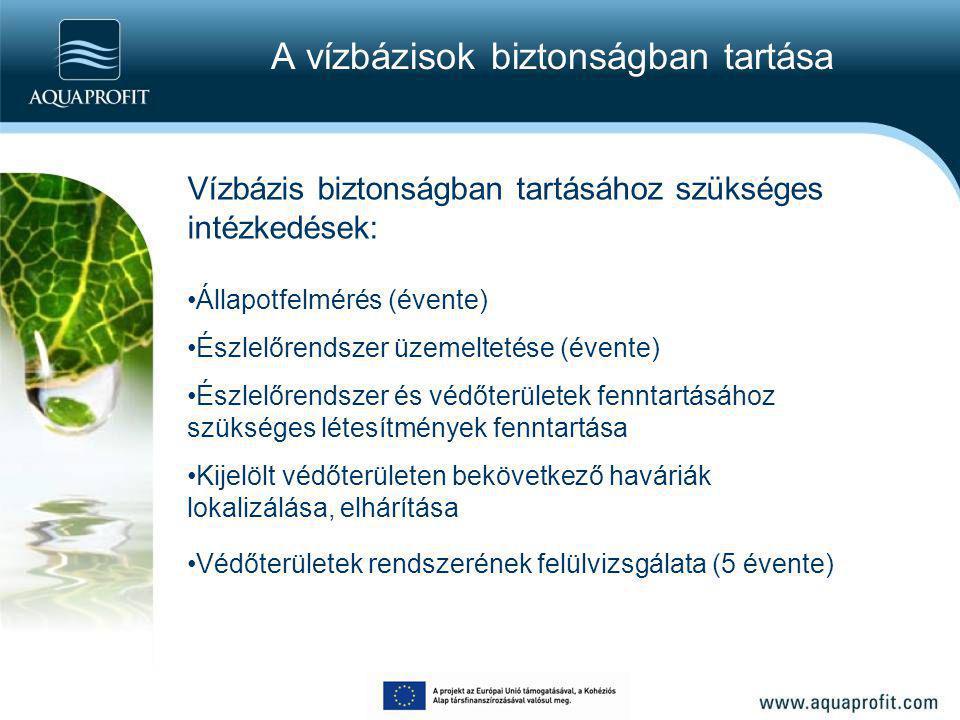 A vízbázisok biztonságban tartása Vízbázis biztonságban tartásához szükséges intézkedések: Állapotfelmérés (évente) Észlelőrendszer üzemeltetése (éven