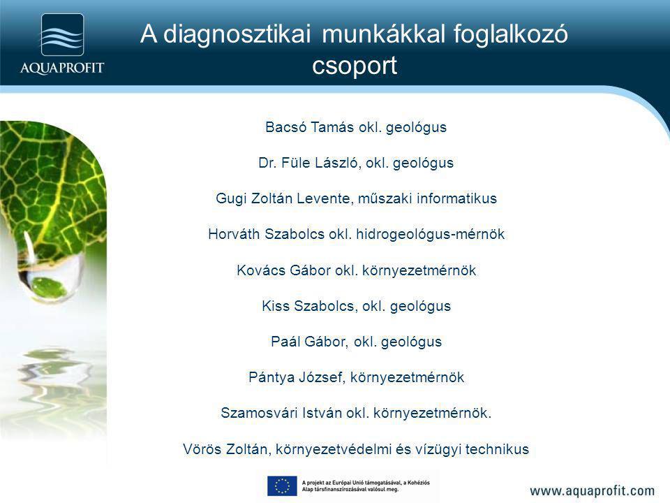 A diagnosztikai munkákkal foglalkozó csoport Bacsó Tamás okl. geológus Dr. Füle László, okl. geológus Gugi Zoltán Levente, műszaki informatikus Horvát
