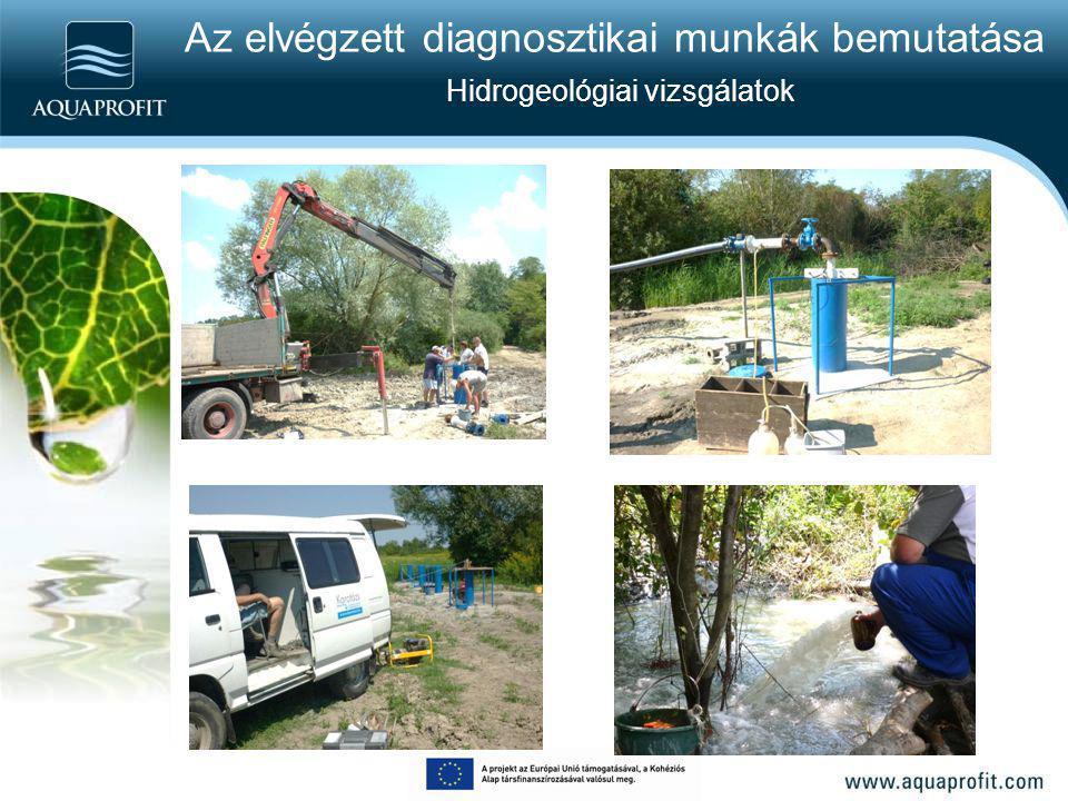 Az elvégzett diagnosztikai munkák bemutatása Víz- és talajkémiai vizsgálatok 1.Vízkémiai vizsgálatok: Szf kutak (ideiglenes, megmaradó) Próba termelő kút 2.EU vízkémiai vizsgálatok Próbatermelő kút 3.Talajkémiai vizsgálatok Fúrások létesítésekor különböző mélységekből