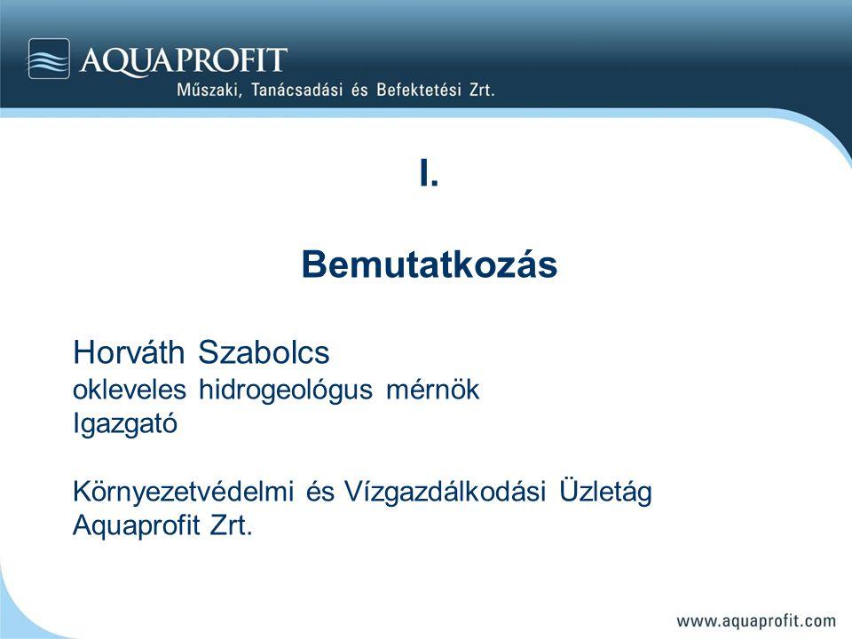 I. Bemutatkozás Horváth Szabolcs okleveles hidrogeológus mérnök Igazgató Környezetvédelmi és Vízgazdálkodási Üzletág Aquaprofit Zrt.