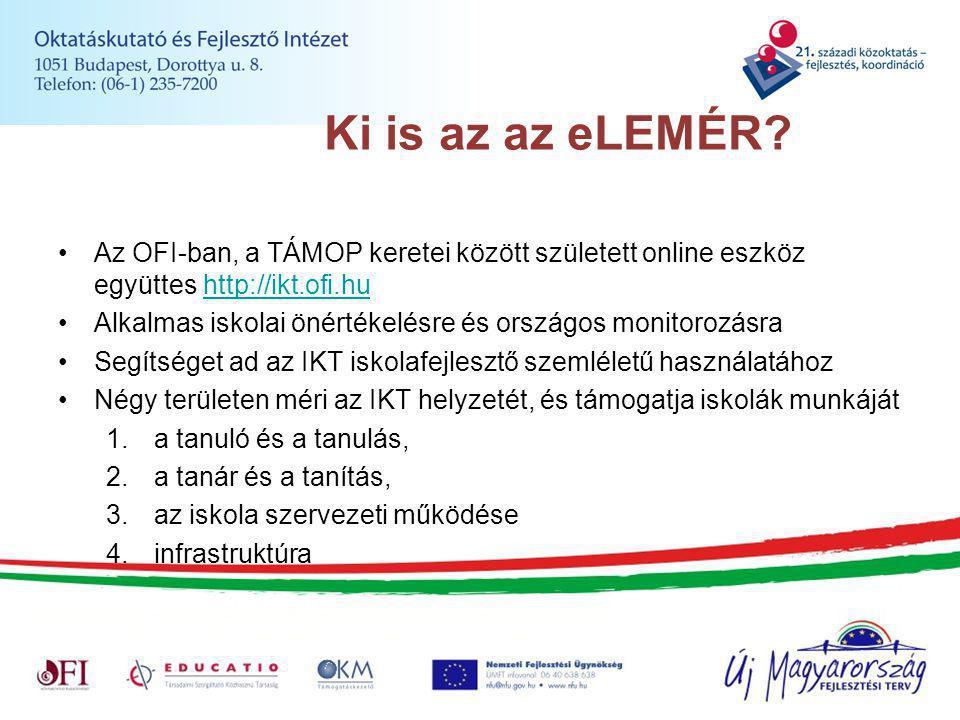 Ki is az az eLEMÉR? Az OFI-ban, a TÁMOP keretei között született online eszköz együttes http://ikt.ofi.huhttp://ikt.ofi.hu Alkalmas iskolai önértékelé