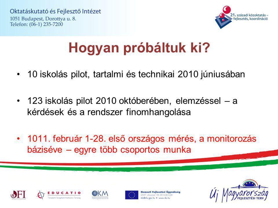 Hogyan próbáltuk ki? 10 iskolás pilot, tartalmi és technikai 2010 júniusában 123 iskolás pilot 2010 októberében, elemzéssel – a kérdések és a rendszer