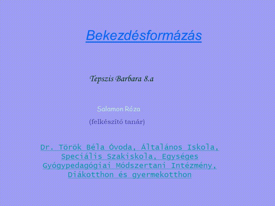 Bekezdésformázás Tepszis Barbara 8.a Salamon Róza ( felkészítő tanár) Dr. Török Béla Óvoda, Általános Iskola, Speciális Szakiskola, Egységes Gyógypeda
