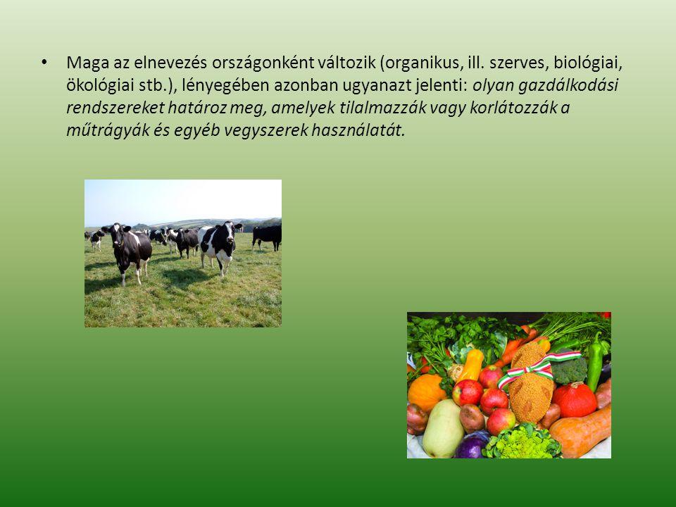 Maga az elnevezés országonként változik (organikus, ill. szerves, biológiai, ökológiai stb.), lényegében azonban ugyanazt jelenti: olyan gazdálkodási