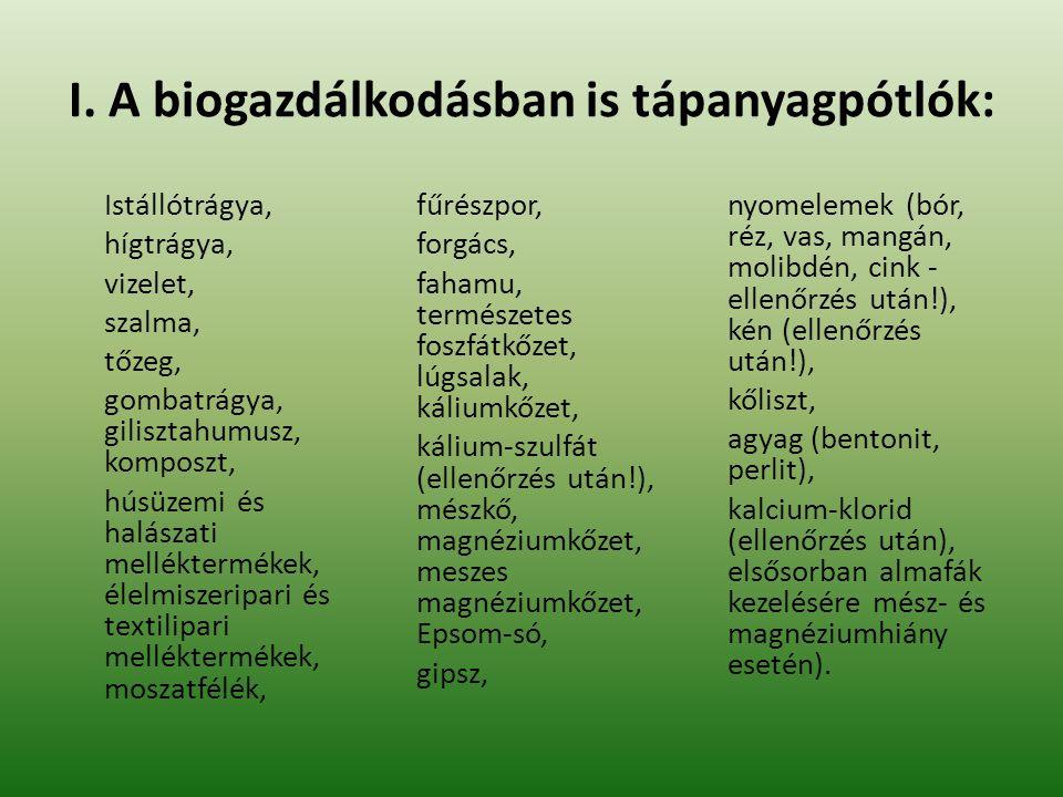 I. A biogazdálkodásban is tápanyagpótlók: Istállótrágya, hígtrágya, vizelet, szalma, tőzeg, gombatrágya, gilisztahumusz, komposzt, húsüzemi és halásza