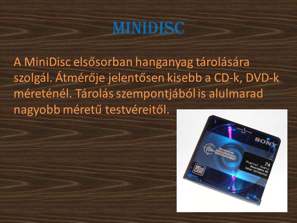 Minidisc A MiniDisc elsősorban hanganyag tárolására szolgál. Átmérője jelentősen kisebb a CD-k, DVD-k méreténél. Tárolás szempontjából is alulmarad na