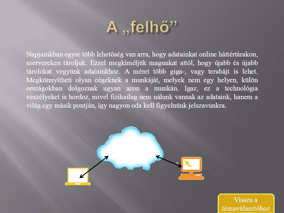 Napjainkban egyre több lehetőség van arra, hogy adatainkat online háttértárakon, szervereken tároljuk.