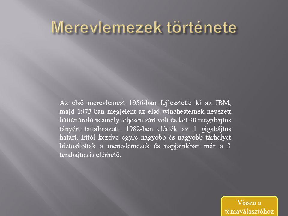 Az első merevlemezt 1956-ban fejlesztette ki az IBM, majd 1973-ban megjelent az első winchesternek nevezett háttértároló is amely teljesen zárt volt és két 30 megabájtos tányért tartalmazott.