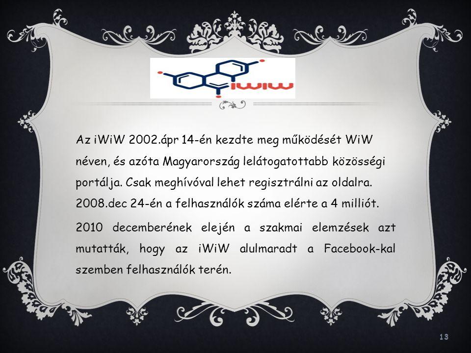 13 Az iWiW 2002.ápr 14-én kezdte meg működését WiW néven, és azóta Magyarország lelátogatottabb közösségi portálja. Csak meghívóval lehet regisztrálni