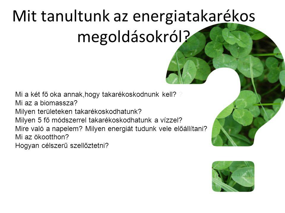 Mit tanultunk az energiatakarékos megoldásokról? Mi a két fő oka annak,hogy takarékoskodnunk kell? ? Mi az a biomassza? Milyen területeken takarékosko