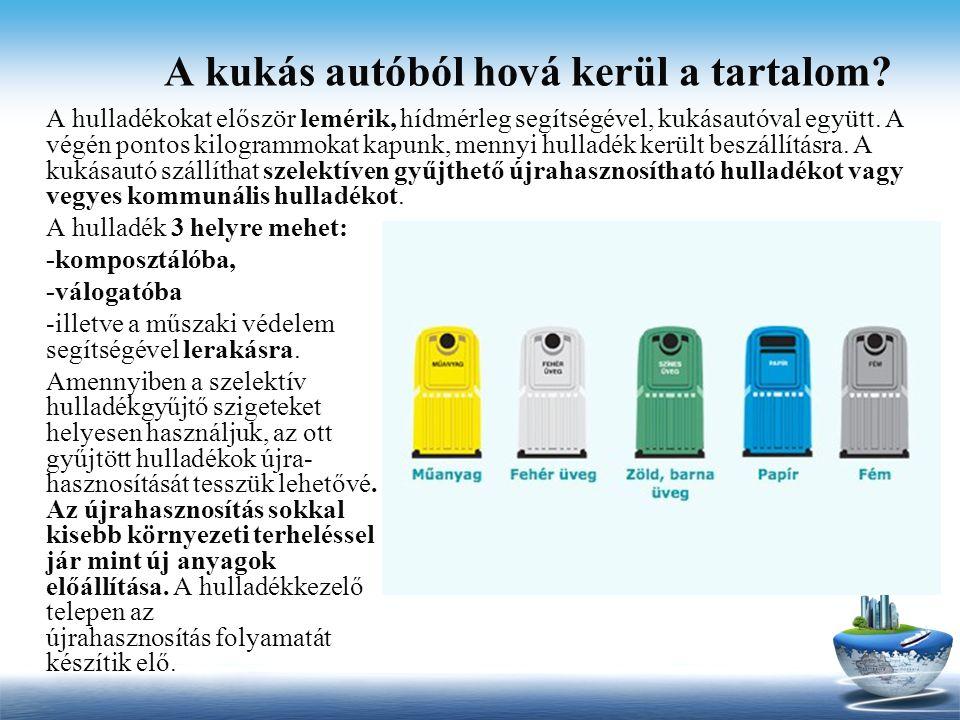 A kukás autóból hová kerül a tartalom? A hulladékokat először lemérik, hídmérleg segítségével, kukásautóval együtt. A végén pontos kilogrammokat kapun