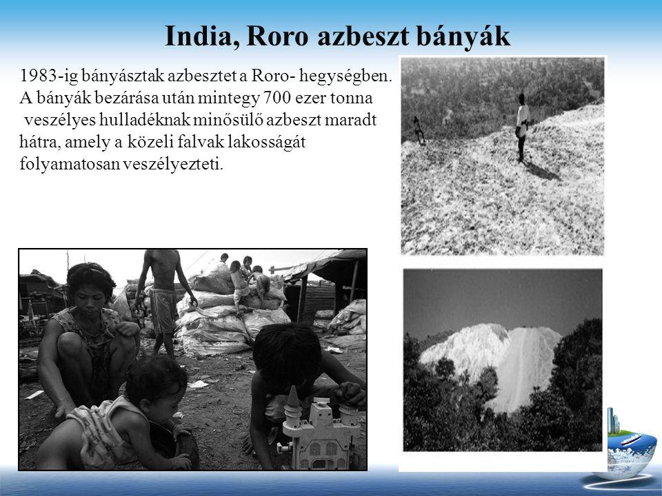 India, Roro azbeszt bányák 1983-ig bányásztak azbesztet a Roro- hegységben. A bányák bezárása után mintegy 700 ezer tonna veszélyes hulladéknak minősü
