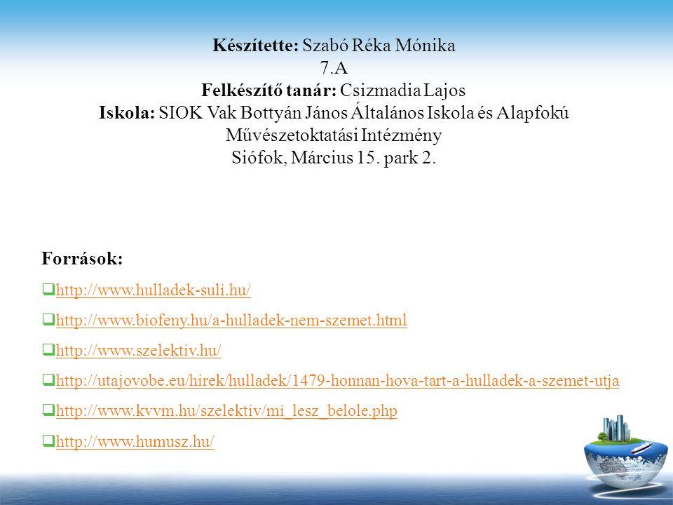 Készítette: Szabó Réka Mónika 7.A Felkészítő tanár: Csizmadia Lajos Iskola: SIOK Vak Bottyán János Általános Iskola és Alapfokú Művészetoktatási Intéz