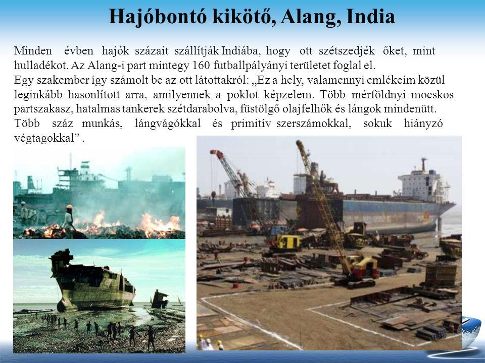 Hajóbontó kikötő, Alang, India Minden évben hajók százait szállítják Indiába, hogy ott szétszedjék őket, mint hulladékot. Az Alang-i part mintegy 160
