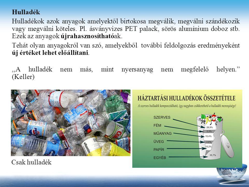 Hulladék Hulladékok azok anyagok amelyektől birtokosa megválik, megválni szándékozik vagy megválni köteles. Pl. ásványvizes PET palack, sörös alumíniu