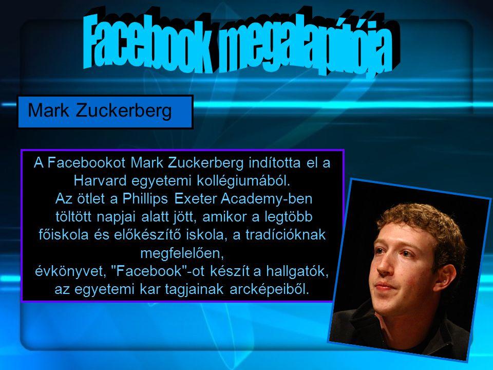 Mark Zuckerberg A Facebookot Mark Zuckerberg indította el a Harvard egyetemi kollégiumából.