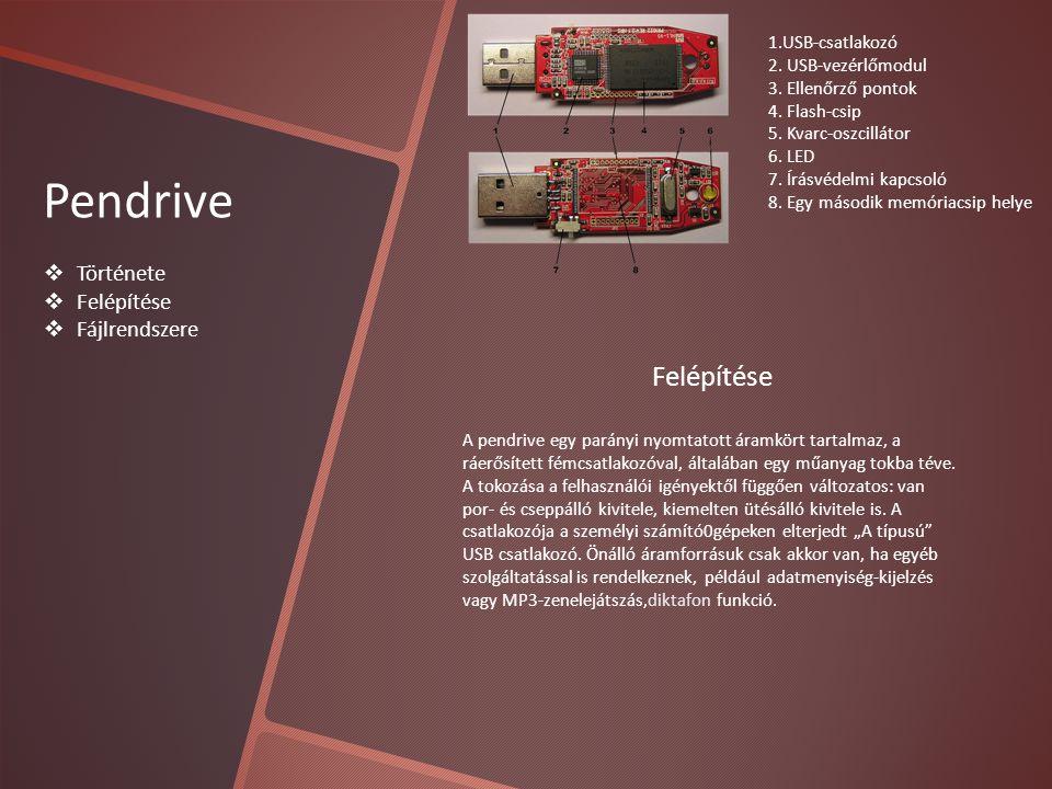 Pendrive  Története  Felépítése  Fájlrendszere 1.USB-csatlakozó 2.