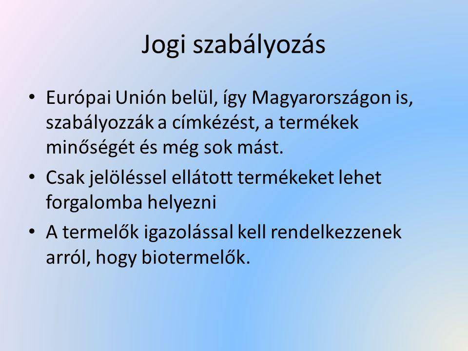 Jogi szabályozás Európai Unión belül, így Magyarországon is, szabályozzák a címkézést, a termékek minőségét és még sok mást. Csak jelöléssel ellátott