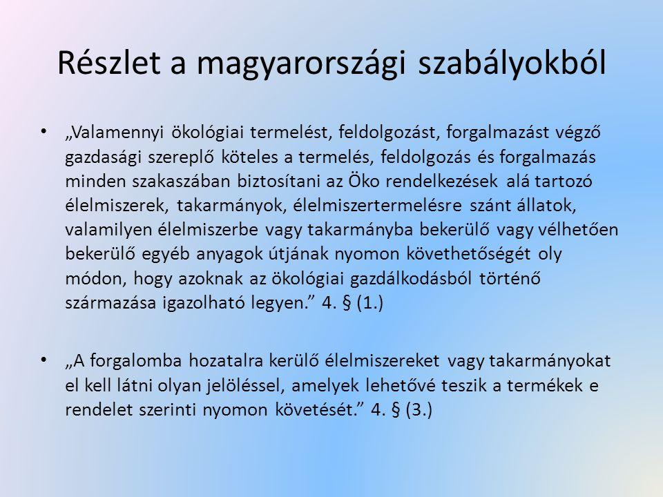 """Részlet a magyarországi szabályokból """"Valamennyi ökológiai termelést, feldolgozást, forgalmazást végző gazdasági szereplő köteles a termelés, feldolgo"""