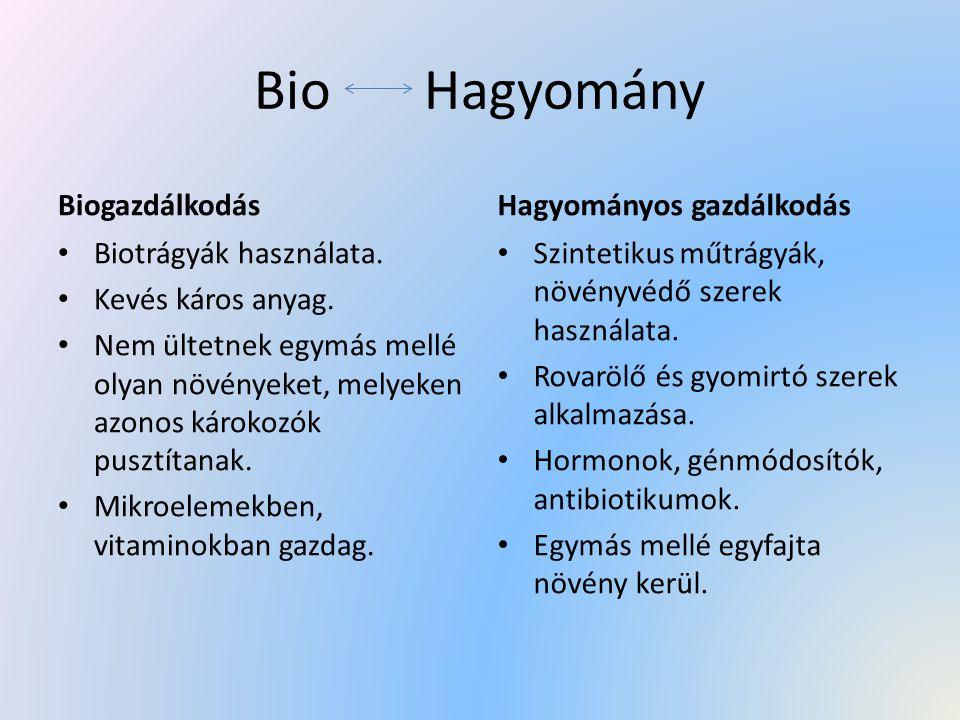 Bio Hagyomány Biogazdálkodás Biotrágyák használata. Kevés káros anyag. Nem ültetnek egymás mellé olyan növényeket, melyeken azonos károkozók pusztítan