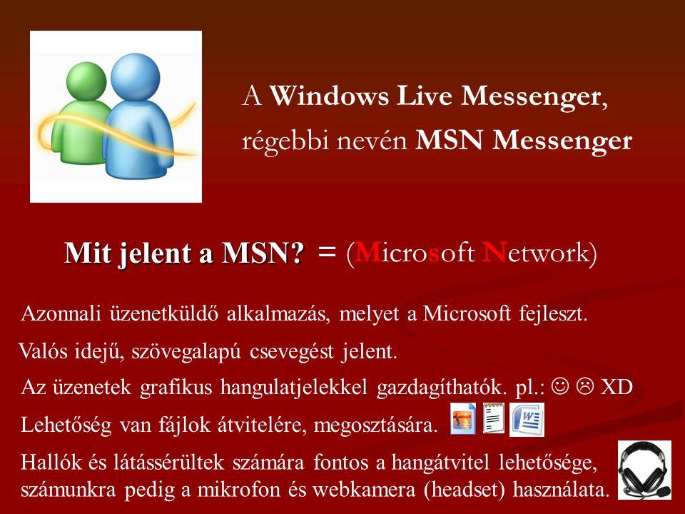 A Windows Live Messenger, régebbi nevén MSN Messenger Mit jelent a MSN? = (Microsoft Network) Azonnali üzenetküldő alkalmazás, melyet a Microsoft fejl