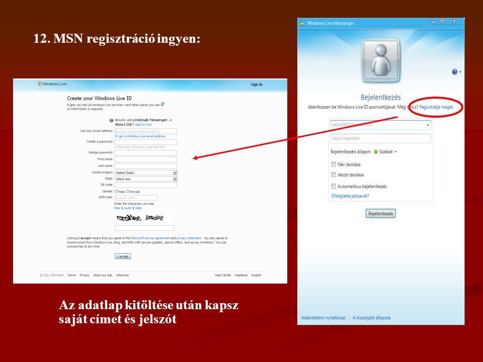12. MSN regisztráció ingyen: Az adatlap kitöltése után kapsz saját címet és jelszót
