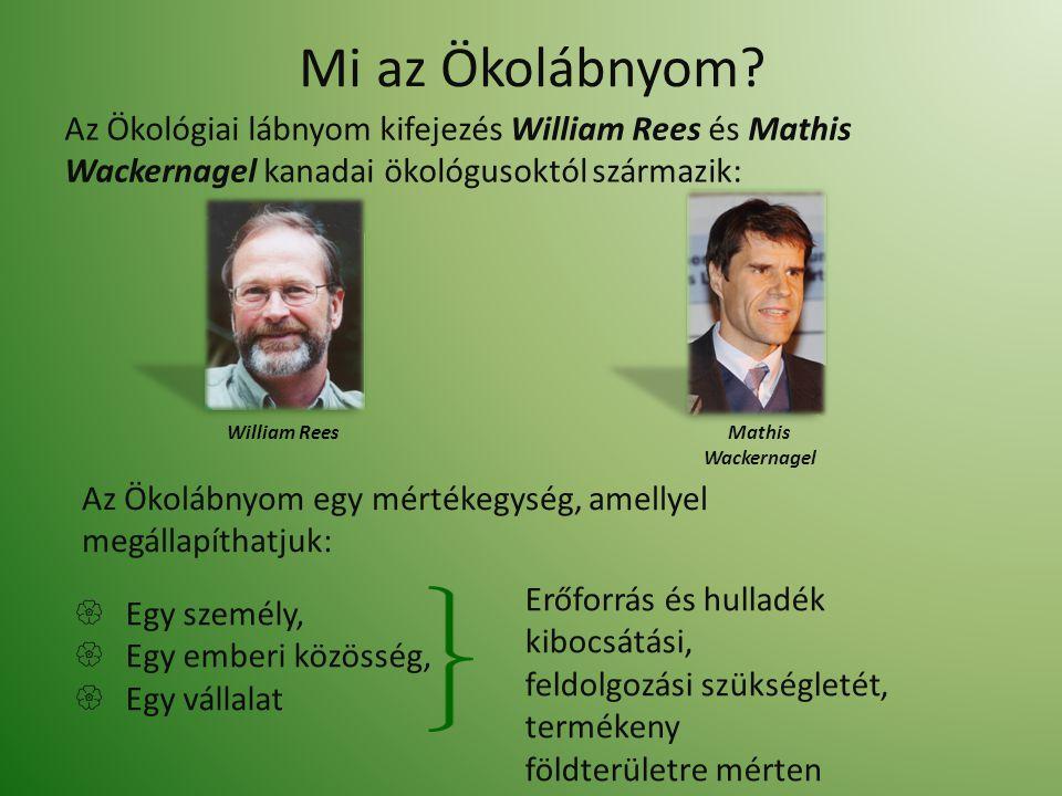 Mi az Ökolábnyom? Az Ökológiai lábnyom kifejezés William Rees és Mathis Wackernagel kanadai ökológusoktól származik: Erőforrás és hulladék kibocsátási