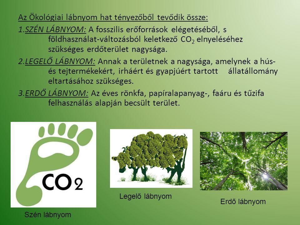 Az Ökológiai lábnyom hat tényezőből tevődik össze: 1.SZÉN LÁBNYOM: A fosszilis erőforrások elégetéséből, s földhasználat-változásból keletkező CO 2 el